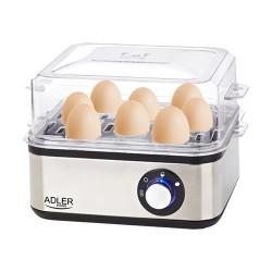 Adler AD 4486 egg cooker 8 egg(s) 800 W Black,Satin steel,Transparent