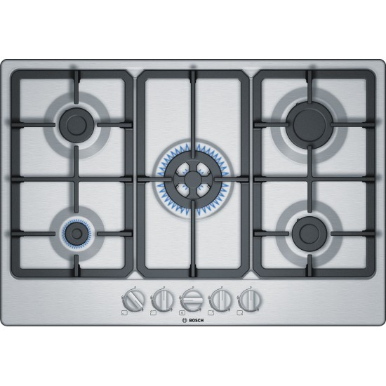 Bosch Serie 4 PGQ7B5B90 hob Stainless steel Built-in 75 cm Gas 5 zone(s)